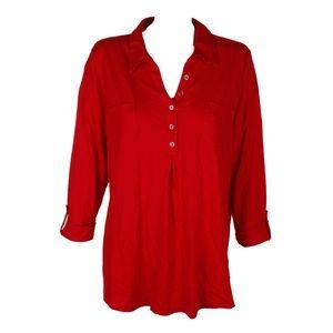 Karen Scott Red Amore 3/4-Sleeve Pleat Tunic